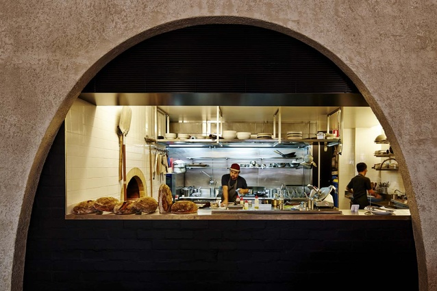 The view into Ester Restaurant and Bar's kitchen.