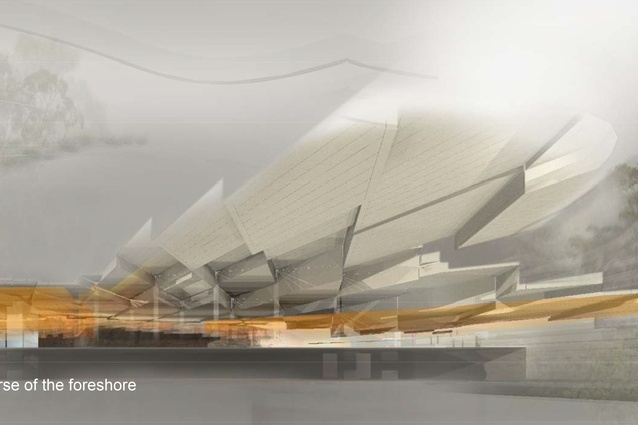 Rendering of proposed cultural facility showing the inverted foreshore tessellations, integrated with a diagonal grid of column and beams.