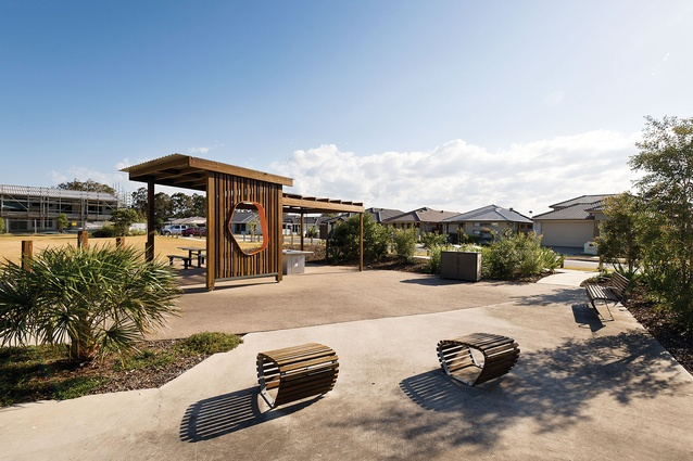 Daintree Park open space defines the character of the public realm at Fitzgibbon Chase.