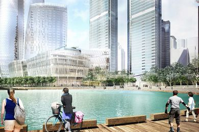 Revised design of Crown tower and Watermans Cove at Barangaroo South.