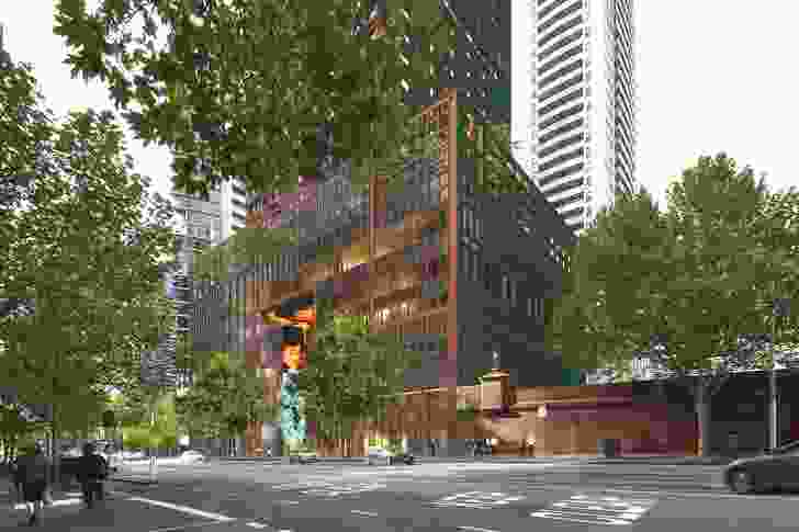 The podium of the mixed use tower at 383 La Trobe Street designed by Ateliers Jean Nouvel and Architectus.