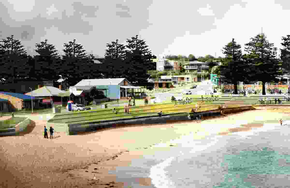 A concept of a revitalized Port Campbell town green.
