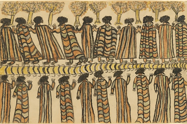 William Barak, Wurundjeri, c. 1824–1903, <i>Figures in possum skin cloaks</i>, 1898. National Gallery of Victoria, Melbourne. Purchased, 1962.