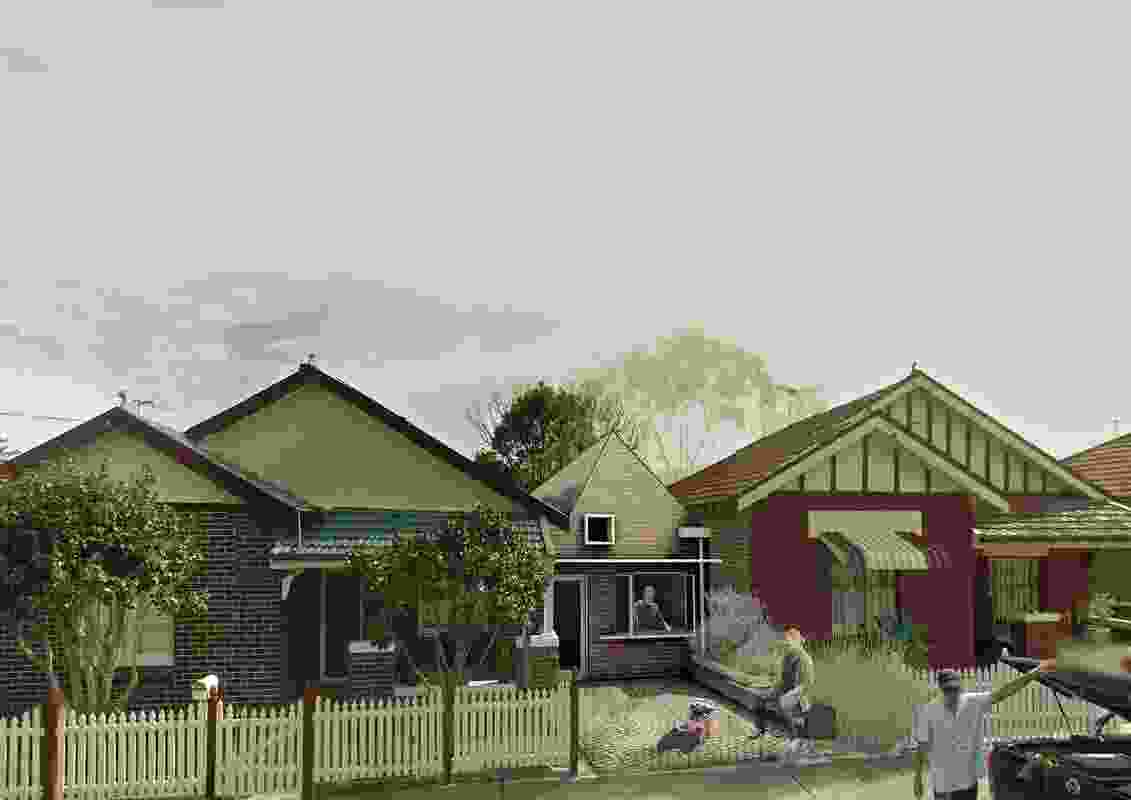 Speculative street view of Established Manors in Canterbury, Sydney. Each existing house is split down its central hallway to create an additional dwelling. In lieu of an ensuite pod and garage between the existing houses, an entrance and kitchen trigger the new dwelling.