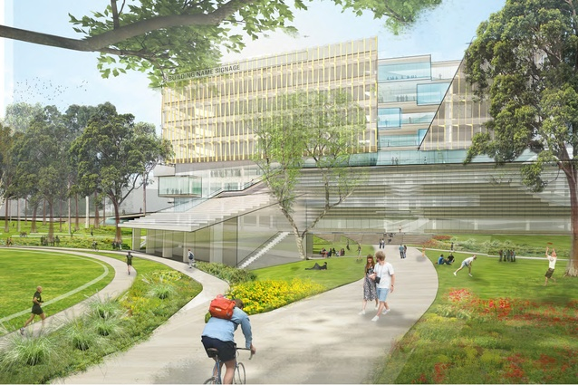 The proposed health building at the University of Sydney by Diller Scofidio Renfro and Billard Leece Partnership will include a folding ground plane.