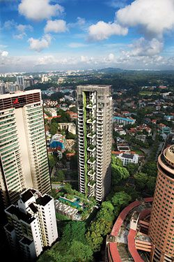 Newton Suites. The thirty-six-storey tower is poised on the edge of the high-rise centre of Singapore, looking out over the low-rise area. Image: Patrick Bingham-Hall