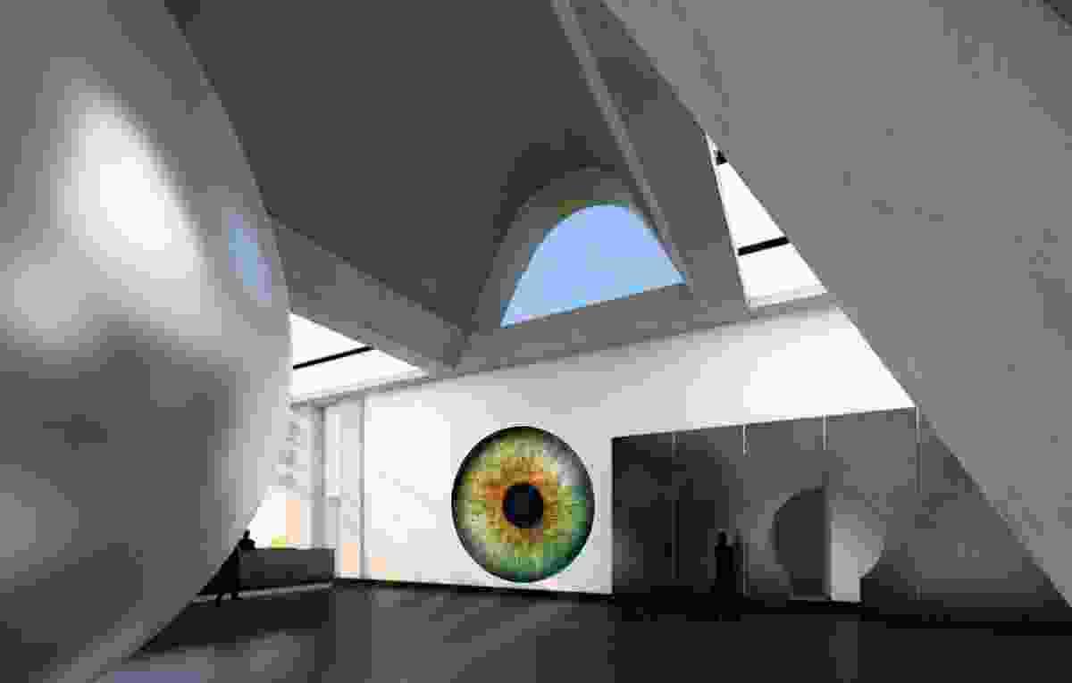 Second prize winner: Colliding Universes in Saint Peter's Four Meter Woollen Eye by Arturo Muela, Paola Ibarra and Daniela Gutiérrez.