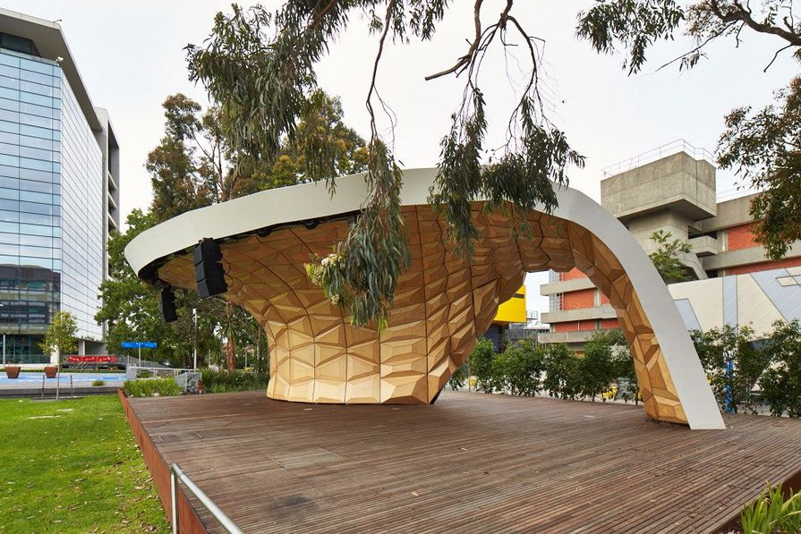 The Caulfield Soundshell was designed by Tim Schork of Monash University and Markus Schein of Kassel University in collaboration with students.