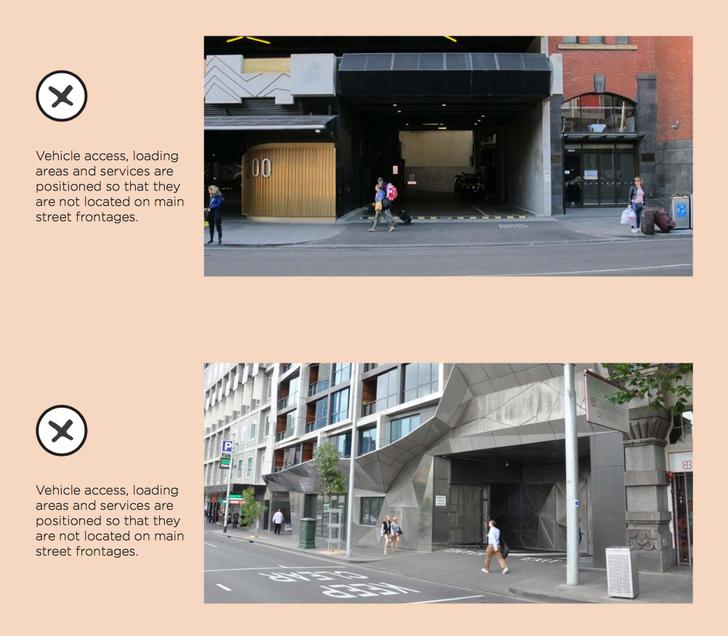The Central Melbourne Design Guide provides example of unacceptable design outcomes.