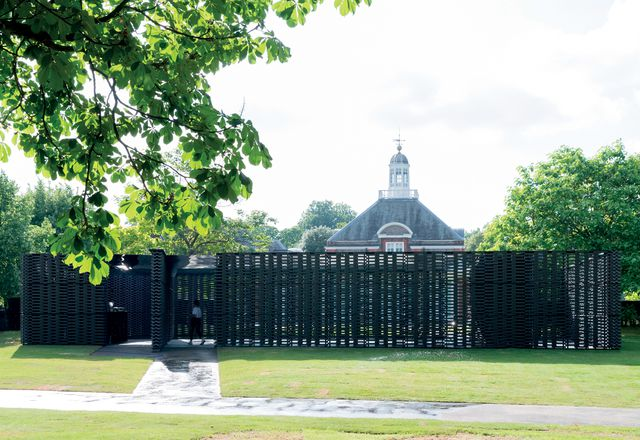 Frida Escobedo's pavilion is aligned to the Serpentine Gallery beyond.