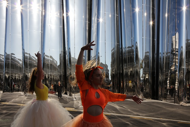As part of the street festival that accompanied the opening, school children danced in front of the building.