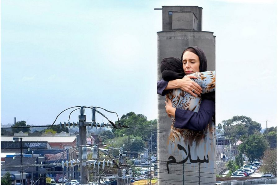 Breathe Architecture want the image of New Zealand prime minister Jacinda Ardern hugging a Muslim woman to be painted onto the Tinning Street silos in Brunswick.