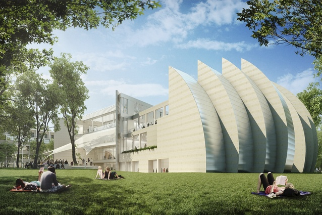 """Campus meets community"". The vision for the Sir Zelman Cowen School of Music by Safdie Architects. Unlike the Sydney Opera House, the exterior and interior of the shell-shaped concert hall ""will speak the same geometry"" said Safdie. It's due for completion in 2016."