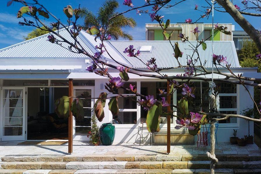 Spirit Level Designs added a pergola and sandstone verandah.