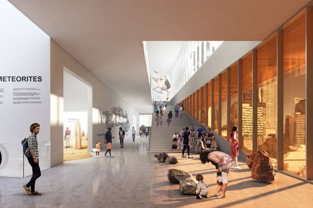 Proposed interior of the new WA Museum designed by Hassell and OMA with managing contractor Brookfield Multiplex.