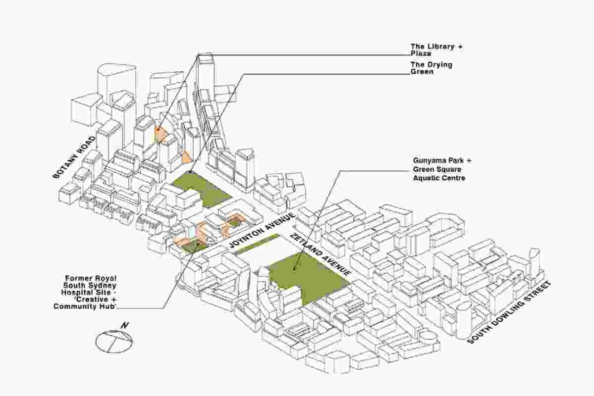 Site plan of Green Square town centre.
