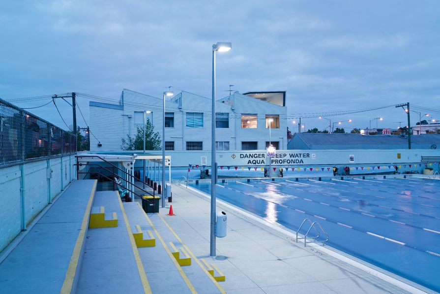 """Melbourne's Fitzroy Swimming Pool has retained a sign added in the early 1950s reading """"Aqua profonda"""" meaning """"deep water"""" in Italian – a reflection of the great influx of migrants from the Mediterranean during that time."""