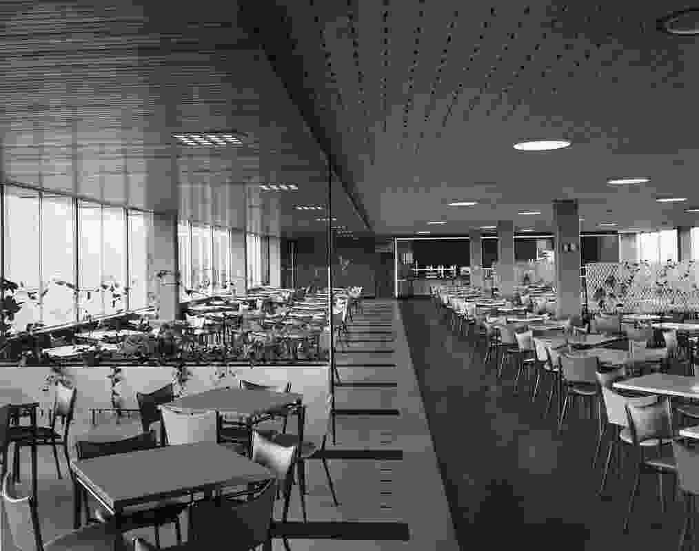 The original cafeteria of ICI House by Bates Smart and McCutcheon.
