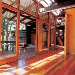 The Taringa House. View from study across to the verandah and living/dining areas.