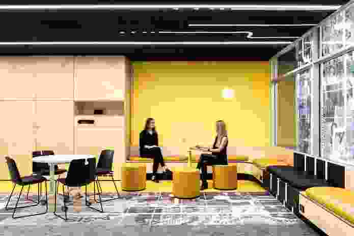 Loose furniture, including tables, chairs and ottomans, can be easily reconfigured by users, ensuring flexibility within the space.