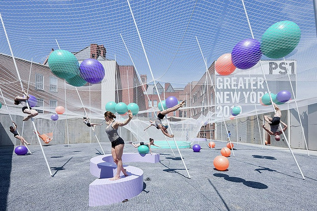 """SO–IL's <I>Pole Dance</I>, a """"participatory"""" courtyard for New York's MoMA featuring an interconnected system of poles, nets and balls."""