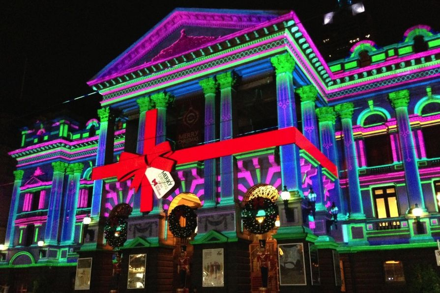 The Melbourne Town Hall lit up by The Electric Canvas.
