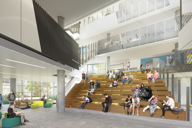The proposed Prahran High School by Gray Puksand will feature an open atrium with a series of bleachers.