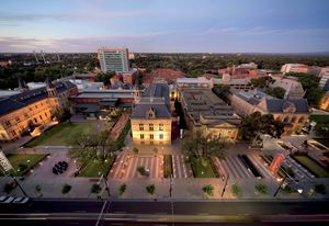 South Australian Museum (left) and Art Gallery of South Australia (right) along the revitalized North Terrace by Taylor Cullity Lethlean and Peter Elliott Architecture and Urban Design.