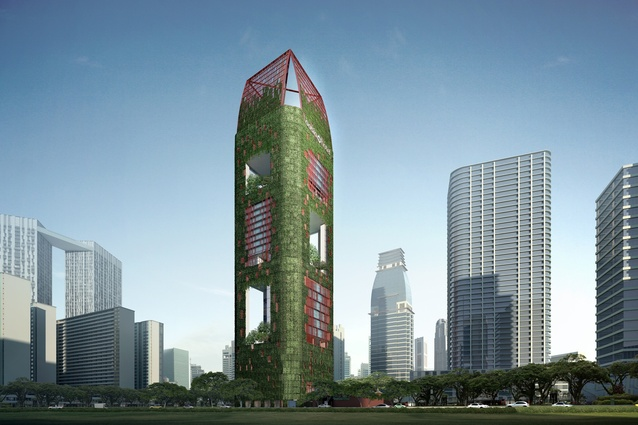 "Vertical cladding and ""sky gardens"" are counted in Oasia Downtown's percentage of green space."