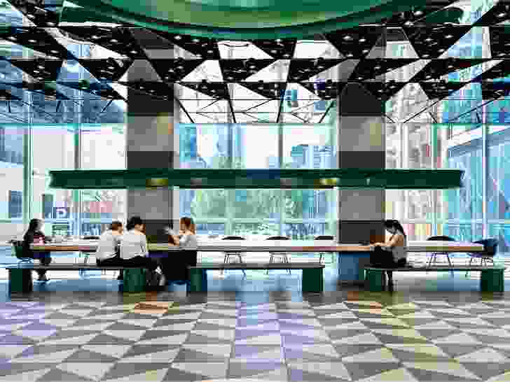 The bridge link that connects Melbourne Central and Emporium Melbourne has been converted into an informal working hub on one level.