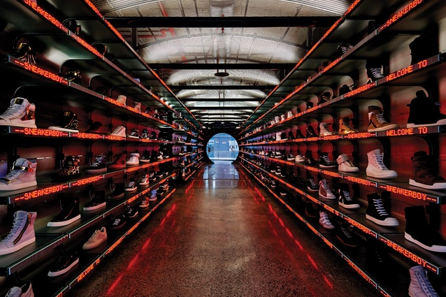 March Studio's futuristic fitout for Sneaker Boy on Flinders Lane in Melbourne.