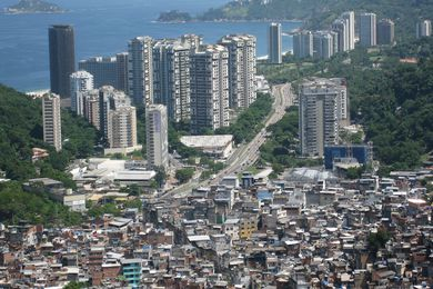 Rocinha Favela in Brazil. In the global south, if you live in a city there is a one-in-three chance that you live in a slum.