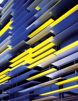 Detail of the horizontal coloured louvres on the building's less formal northern facade.