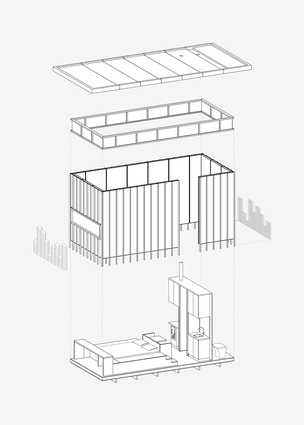 Exploded axonometric diagram of Slate Cabin by Trias.