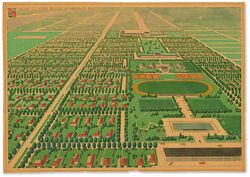 Perspective of Karl Langer's proposed town plan in its completed state, looking east.