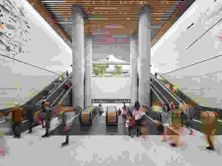 Pitt Street north station escalators.