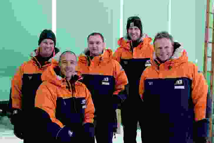 Members of the collaborative design team at Scott Base, Antarctica, from left to right: Jamie Lester (WSP Opus), Stephen Middleton (Jasmax), Martin Craig (Steensen Varming), Simon Shelton (Antarctica New Zealand) and Hugh Broughton (Hugh Broughton Architects).