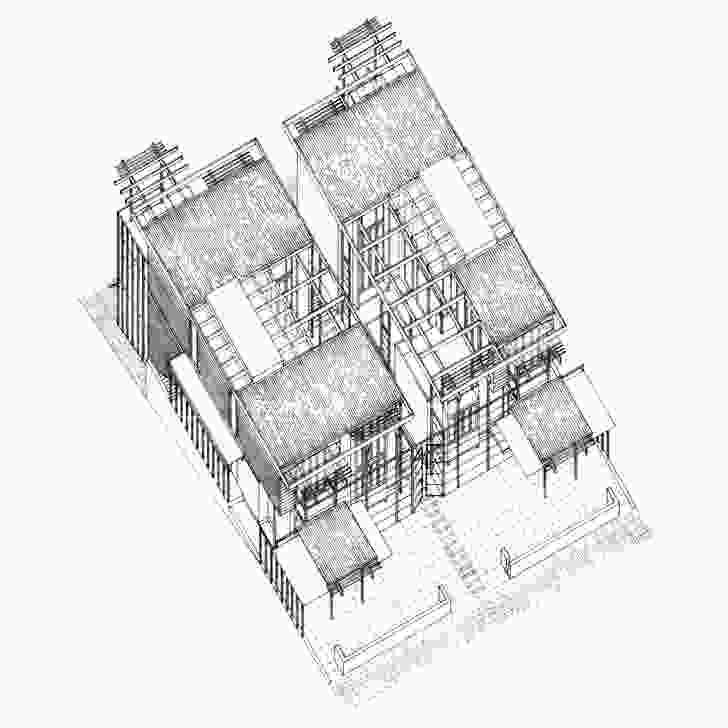 Axonometric drawing of Moreton Bay Houses.