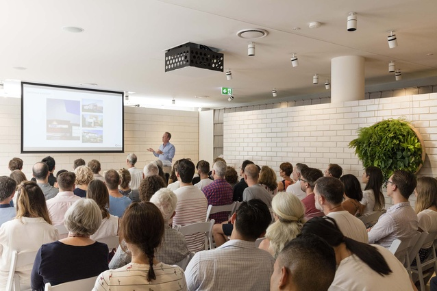 Justin O'Neill of O'Neill Architecture presenting at the Our Houses talk in Brisbane.