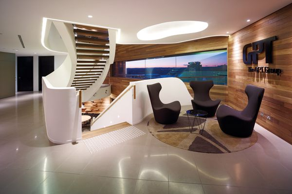 The white curves of the main stair are influenced by the Seidler base building.