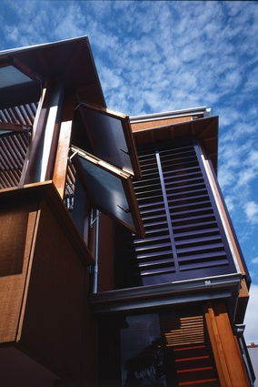 The design of the exterior was derived from the variety of forms, styles and materials seen in the adjacent laneway.