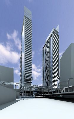 Render of the three residential towers proposed for above the station.