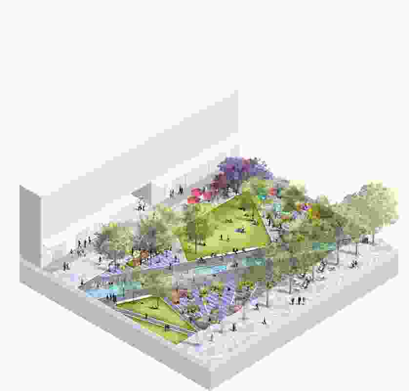 Axonometric section of Parramatta Square draft concept design by JMD Design, Taylor Cullity Lethlean, Tonkin Zulaikha Greer, and Gehl Architects.