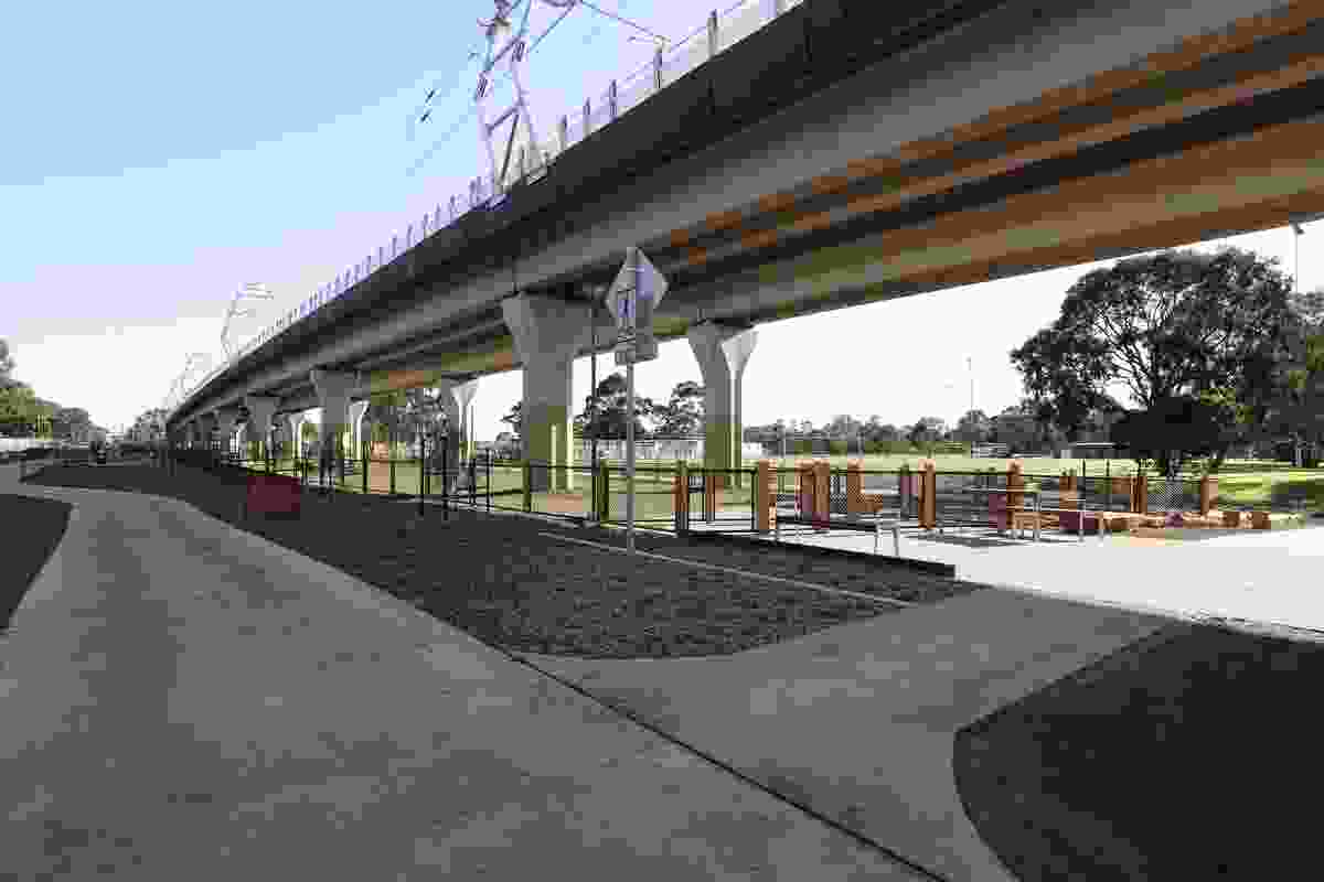 The new rail line between Caulfield and Dandenong in Melbourne's south-east, designed by Cox Architecture and Aspect Studios.