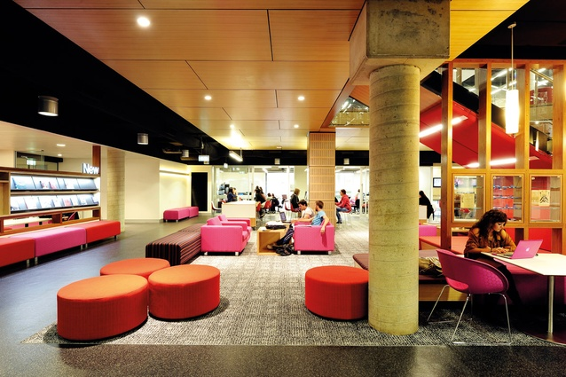 Bright colours and comfortable lounge furniture are an acknowledgement of the library's social function.