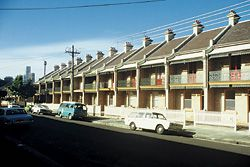 """By the 1880s the terraces had """"Aussie"""" verandahs, but still had dark roofs, small windows and poor orientation. The principal facade, with the verandah, faces the street, not the winter sun and the summer breezes.Image: Tone Wheeler"""