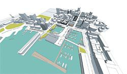 Winning entry by Hobart/Melbourne firm Preston Lane Architects, with James Whitten Architect, which proposes replicating existing urban spatial patterns across the entire competition site.