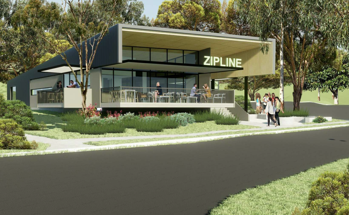 The arrival centre for the Mt Coot-tha zipline development, designed by DM2 Architecture and Alan Griffith Architects.