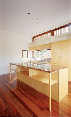 Detail of the kitchen cabinetry, which relates to built-in furniture throughout the house. Image: Brett Boardman