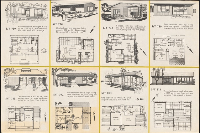 Folded booklet of house plans prepared by the Small Homes Service New South Wales, conducted by the Royal Australian Institute of Architects (New South Wales chapter) in conjunction with <i>Australian Home Beautiful</i> at David Jones, Sydney.